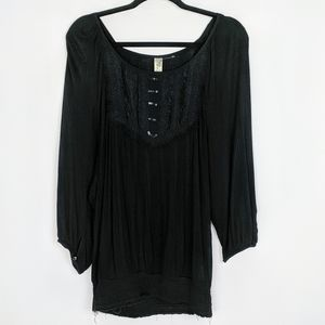 Free People Bib Lace Sequence Raw Smocked Hem Top